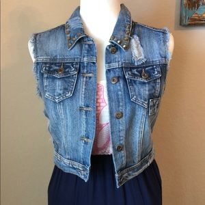 Jackets & Blazers - Studded Jean Distressed Vest